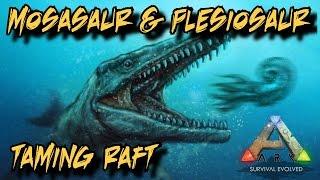 Mosasaurus/Plesiosaur/Dunkleosteus Taming Raft and Depth Gauge Tutorial - Ark Survival Evolved