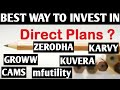 best way to invest in direct Mutual fund plan - cams , karvy , mfutility, zerodha, groww , kuvera ??