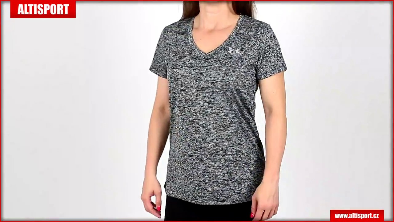 dámské tričko s krátkým rukávem under armour tech ssv twist 1258568 001  blackmetallic silver 4b7a8d7d955