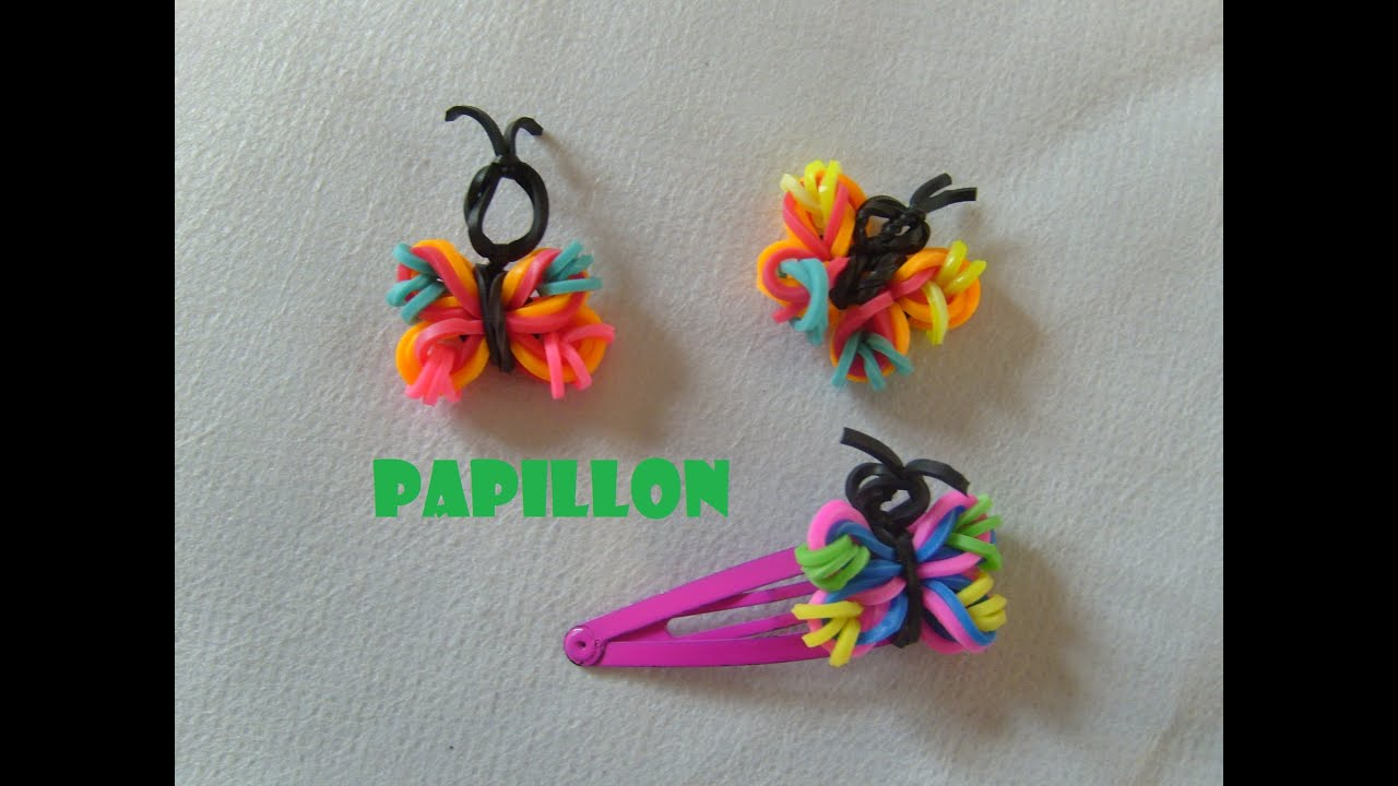 papillon en lastiques tuto francais bracelet elastique rainbow loom bands youtube. Black Bedroom Furniture Sets. Home Design Ideas