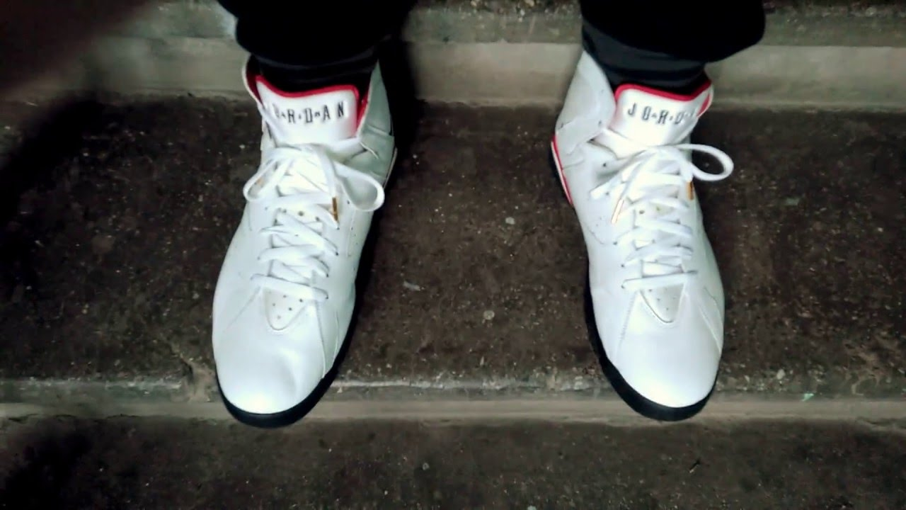73ab62c4e1678b 2006 Air Jordan VII (7) Retro   Cardinal   (304775-101) on feet.  White Black–Cardinal Red–Bronze - YouTube