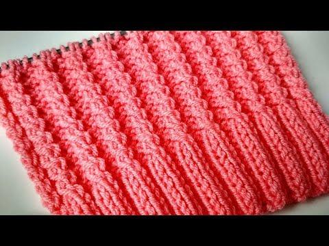 Резинка спицами. Рельефный узор спицами на основе резинки 2х2