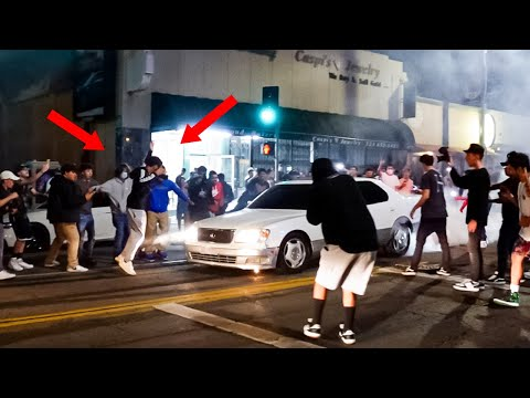 HE ALMOST GOT HIT! THIS IS THE CRAZIEST CAR MEET EVER