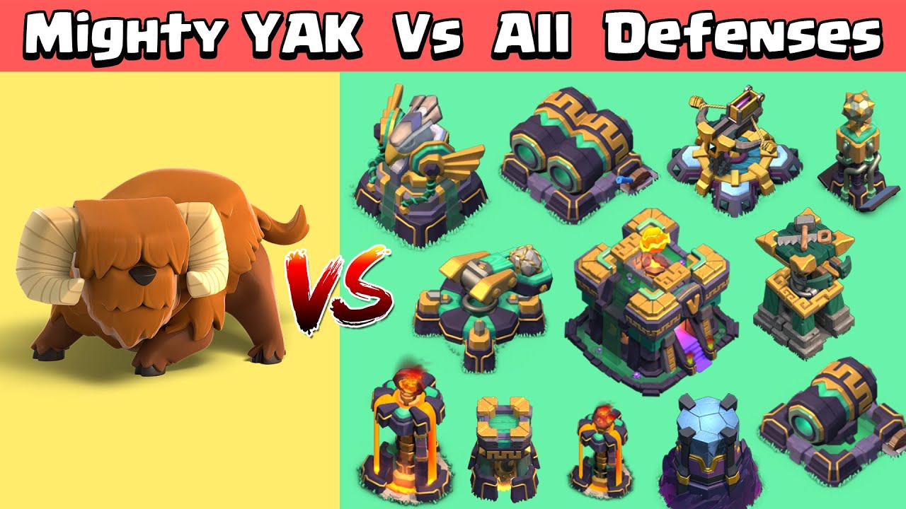 Mighty YAK Vs All Max Defenses | Clash of Clans | Town Hall 14 Update | Yak Vs All Defenses in COC