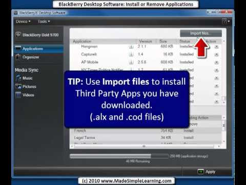BlackBerry Desktop Software 6 0 - Install or Remove Applications