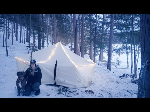Winter Camping In A Canvas Hot Tent With My Wife And Dog - Wolves And Wood Stove