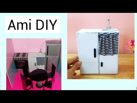 DIY How to make a Doll House Kitchen / Cách làm tủ bếp cho búp bê / Ami DIY