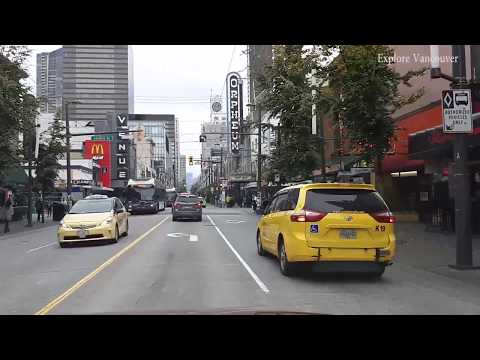 Driving Downtown Vancouver - From Richmond Via Granville Street To City Centre