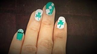 St  Patrick Day Nail Art - Toothpick Nail Art