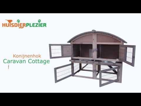 Huisdierplezier.nl | Konijnenhok Caravan Cottage | Konijnenhok bouwen