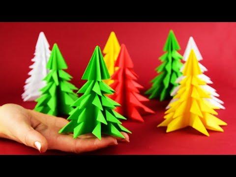 Как сделать объемную елку из бумаги А4 легко. Новогодние поделки