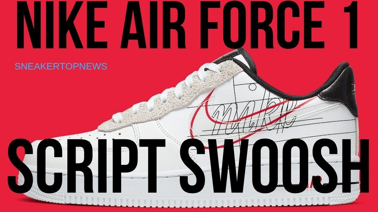 script swoosh air force 1