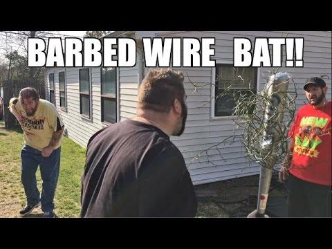 BARBED WIRE BASEBALL BAT BACKYARD WRESTLING ACTION!