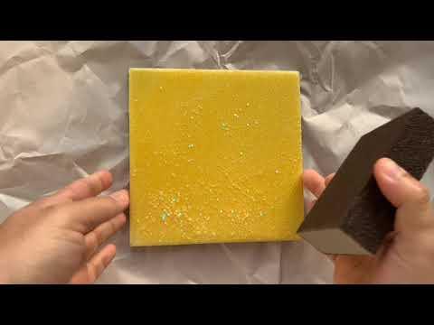 Epoxy glitter tile coaster