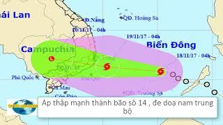 Tin Tức 24h Channel - Dự báo  thời tiết / Áp thấp mạnh thành bão số 14 đe doạ nam trung bộ