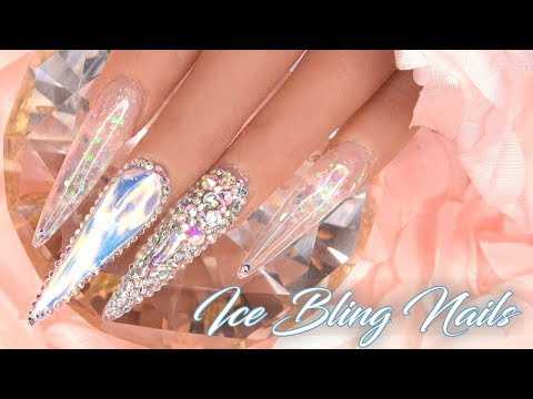 Acrylic Nails Ice Bling Nails - LongHairPrettyNails