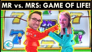 BATTLE OF THE SEXES! WHO WINS MORE ON GAME OF LIFE SLOT MACHINE - BIG WINS!