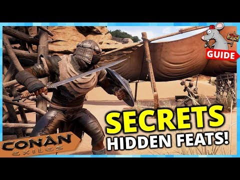 CONAN EXILES PS4 SECRETS | Hidden Feats! Special Armors Weapons Build Pieces