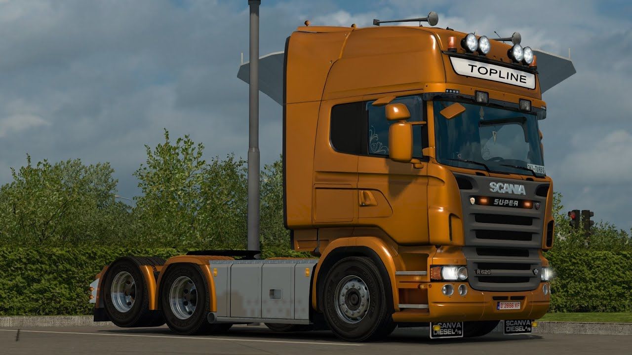Connu ETS2 | Scania R620 V8 | Realistic Turbo pressure sound - YouTube UV12