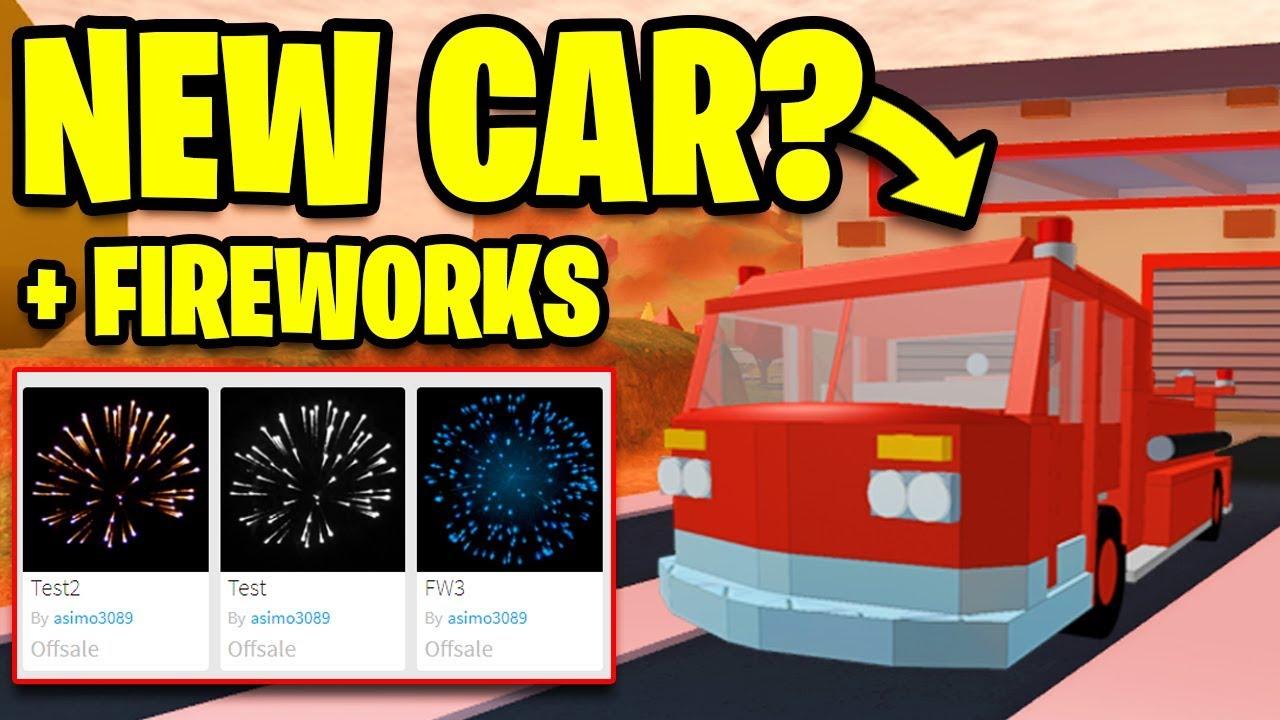 Jailbreak New Vehicle Ambulance Fire Truck Fireworks Confirmed Roblox Jailbreak New Update Youtube