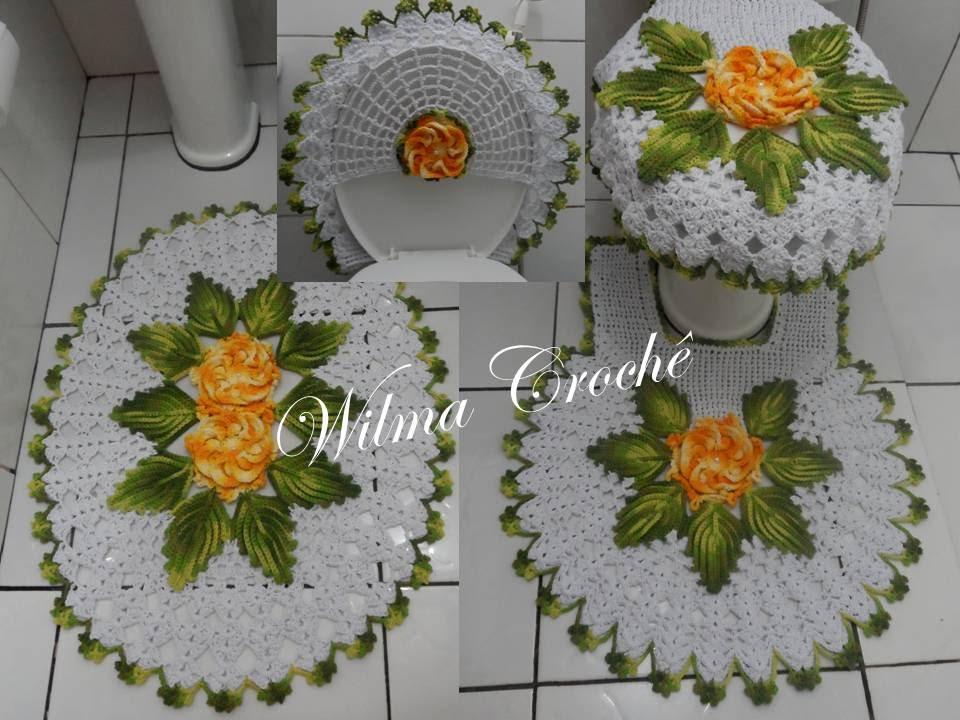 tapete de croche para banheiro com flores