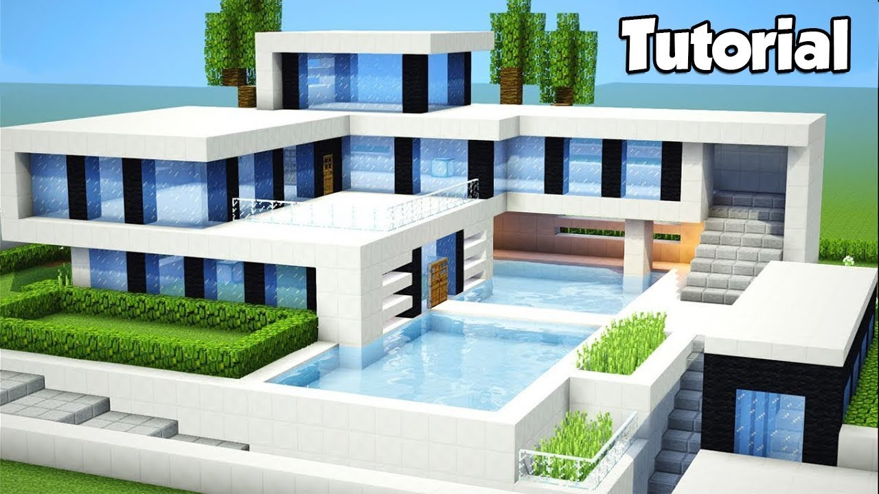 Minecraft how to build a large modern house tutorial for How to go about building a house