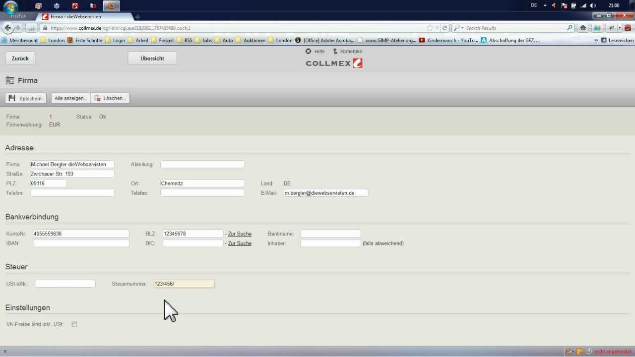 Collmex Rechnung Freeware Warenwirtschaft Rechnungssoftware Test