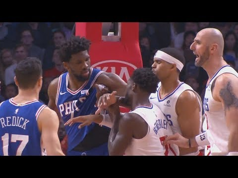 Joel Embiid Wanna Fight Patrick Beverley During Scuffle! Sixers vs Clippers