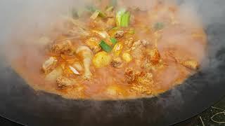 솥뚜껑 닭도리와 대파마늘 오겹살!