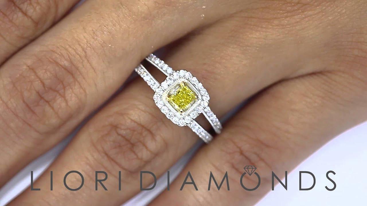 Fd170  075 Carat Fancy Yellow Princess Cut Diamond Engagement Ring 18k  Gold Pave Halo