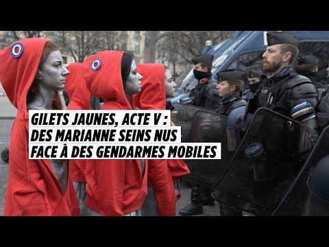 Gilets jaunes, acte V : des Marianne seins nus face à des gendarmes mobiles
