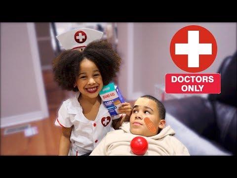 Halloween Doctor Girl Saves Big Brother Kids Pretend Play