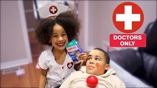 Halloween Doctor Girl Saves Big Brother Kids Pretend Play
