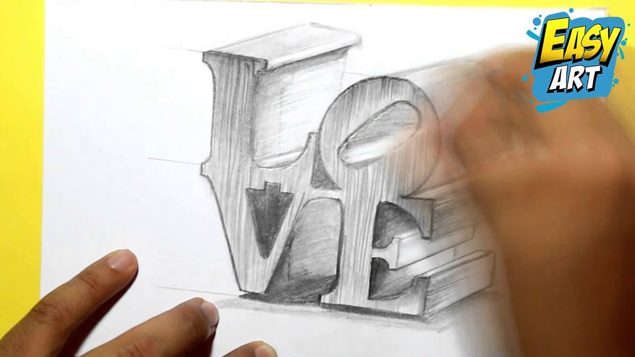 Dibujos Para Colorear En 3d: How To Draw 3D Love