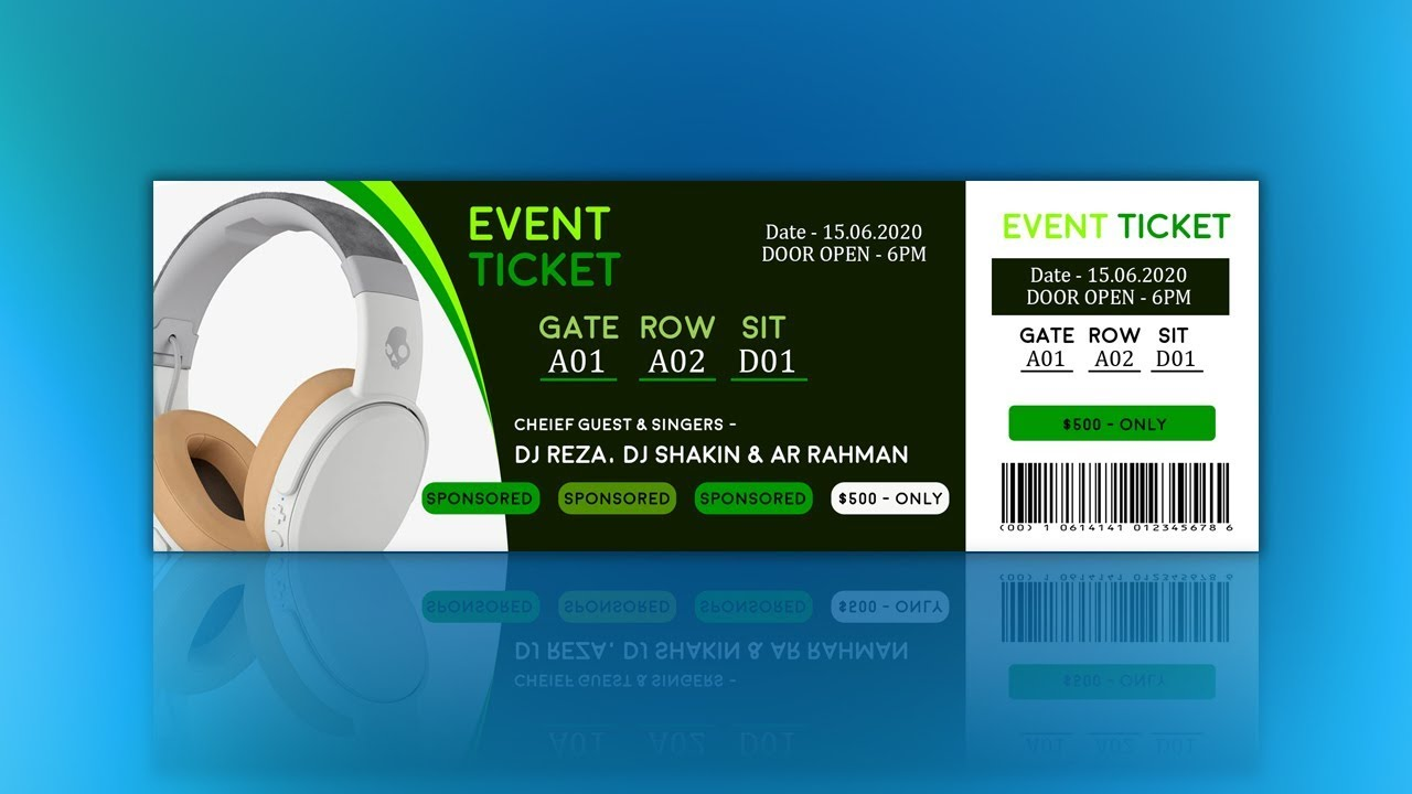Charming How To Create Event Ticket Design Tutorial In Photoshop Pertaining To How To Design A Ticket For An Event