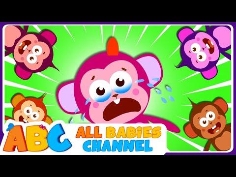 Five Little Monkeys Jumping On The Bed  FUNNY MONKEYS MISCHIEF  Kids Songs  All Babies Channel