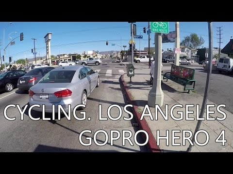 Cycling. Los Angeles. 4th Str to Sunset Blvd. GoPro Hero 4