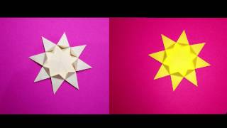 Easy Origami Star 8 pointed.  Christmas  star and house decoration