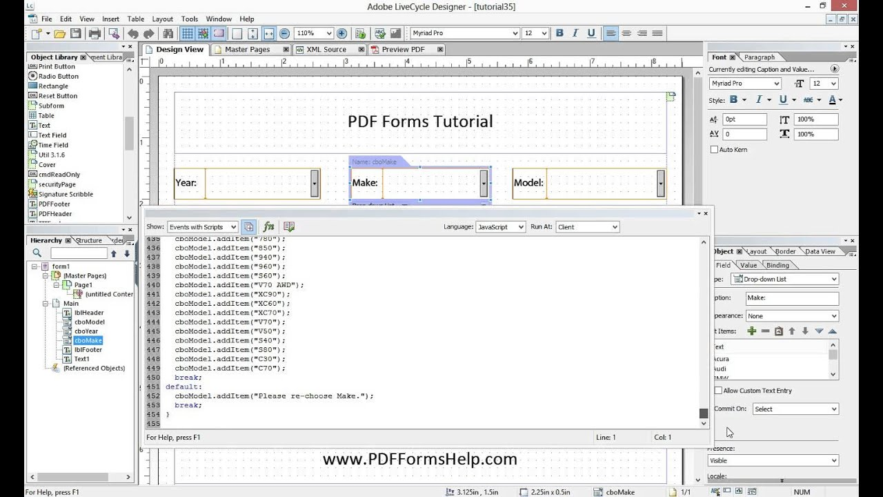 Creating Dynamic Dropdowns using Javascript in Adobe