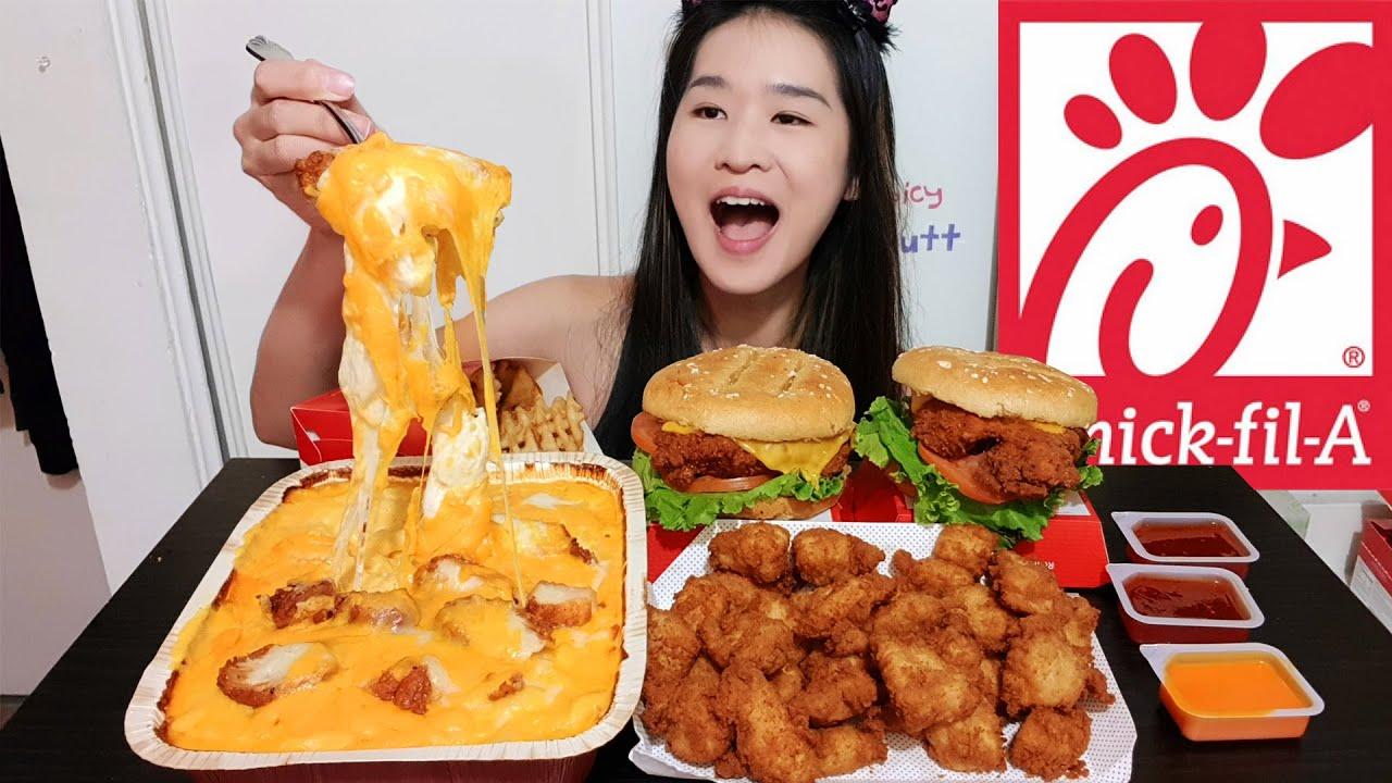 CHICK-FIL-A SPICY MAC N CHEESE! Spicy Chicken Deluxe Sandwich, Crispy Chicken Nuggets - Mukbang Asmr