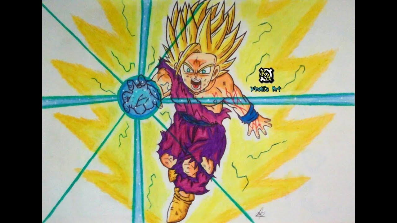 Drawing Supersaiyan 2 Teen Gohan Kamehameha Full Body Drawing