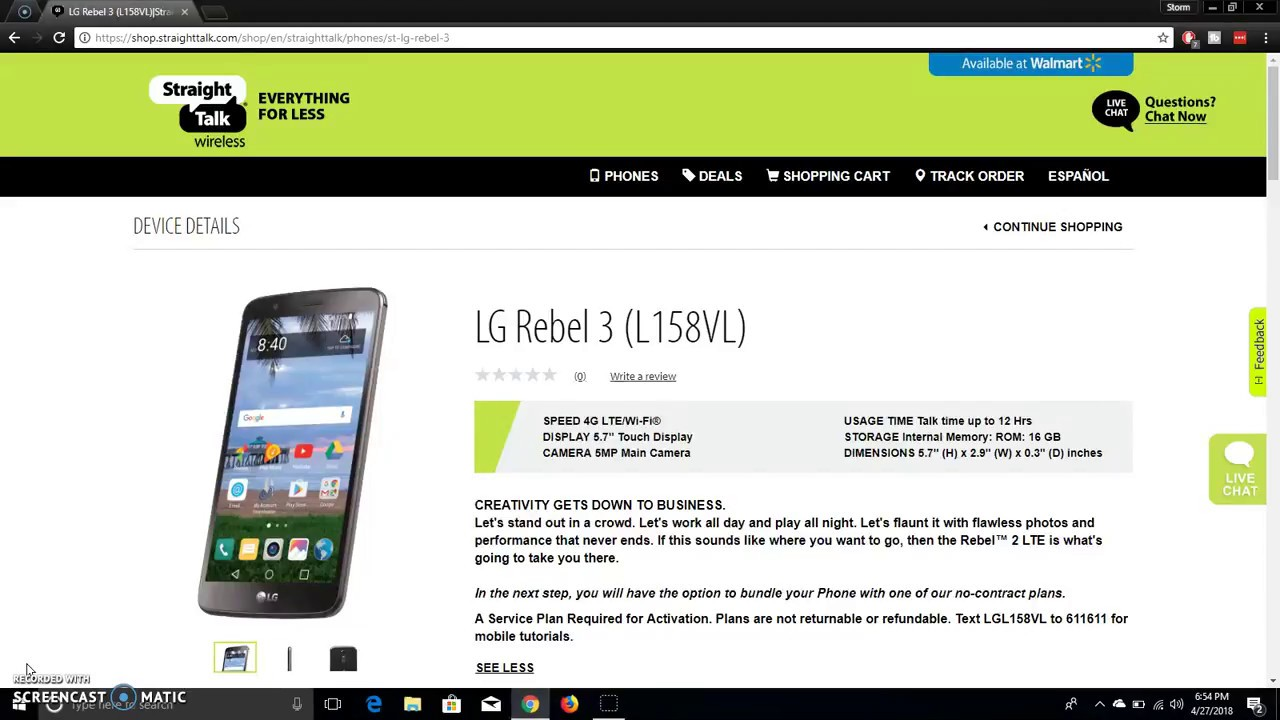 LG REBEL™ 3 (L158VL) | Straight Talk