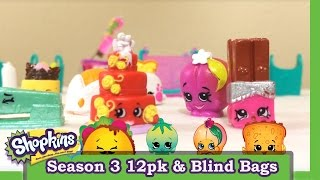 Shopkins season 2 and 3 12 pack opening + 2 blind baskets Mystery Surprise Toy Unboxing  Blind Bags