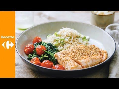 saumon-teriyaki,-épinards-et-riz-au-citron