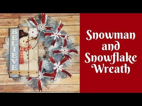Dollar Tree Christmas Crafts: Snowman and Snowflake Dollar Tree Deco Mesh Winter Wreath