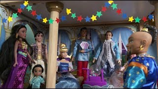 Princess Jasmine and Aladdin Visit Cinderella to Play Games and Hide and Seek at Princess Castle
