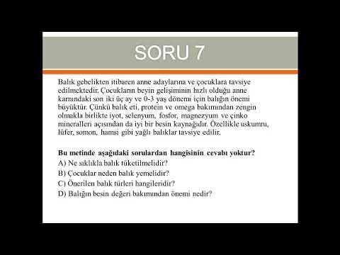 6. Sınıf Türkçe Bursluluk Sınav Sorularının Çözümü-HAKAN İNAN