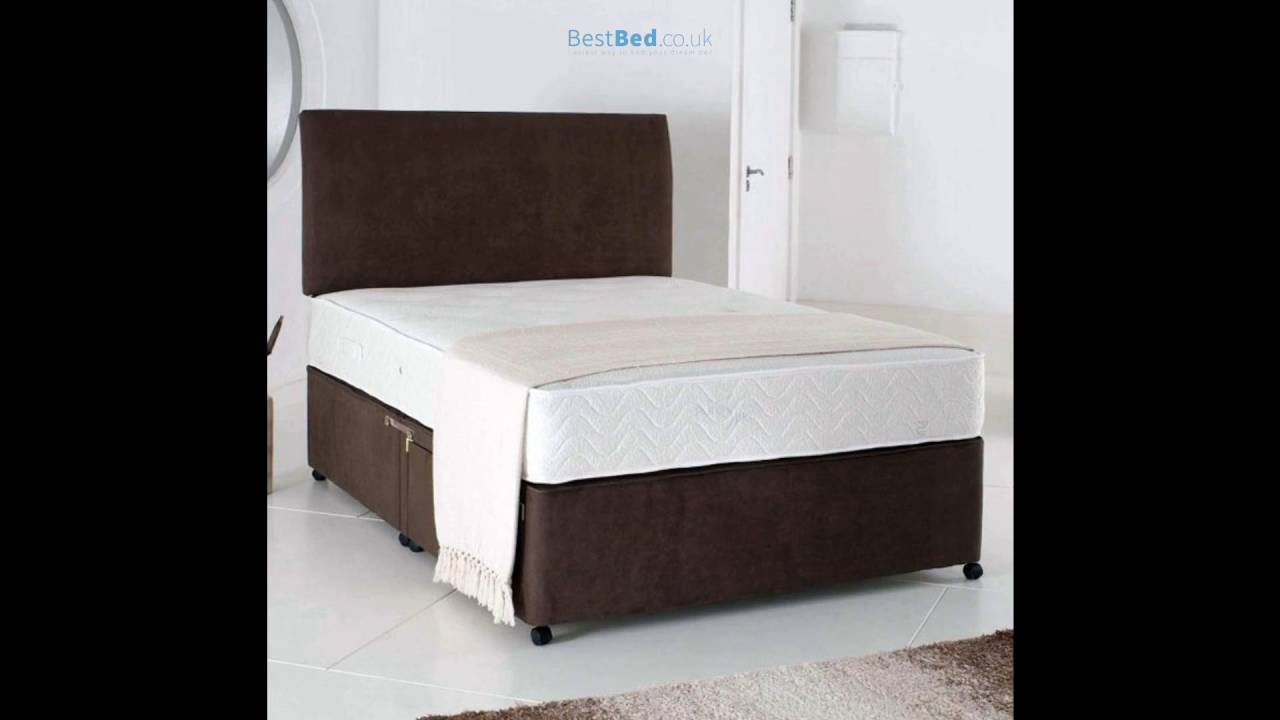 Relax 4ft 6in Double Divan Bed With Memory Foam Mattress In Brown