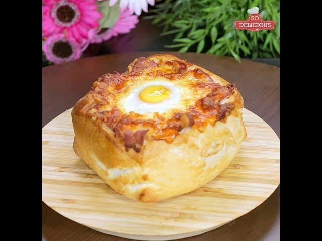 Pork Stuffed Bread with Egg on Top