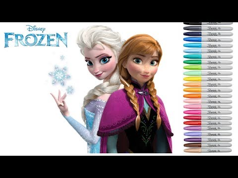 coloring-frozen-snow-queen-elsa-and-princess-anna-coloring-book-page-sharpie-copic-colored-markers